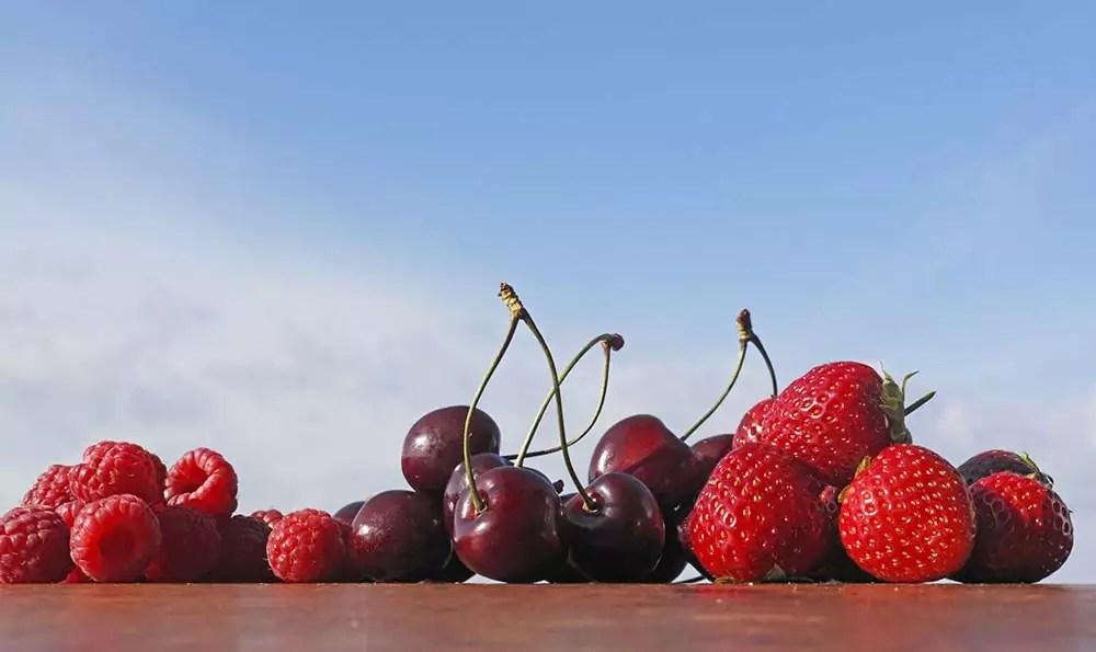 Sudetirol, Vinschgau, oberhalb von Kastelbell, Blick Richtung Martelltal, Kirschen, Erdbeeren, Himbeeren, Fotografie: Frieder Blickle