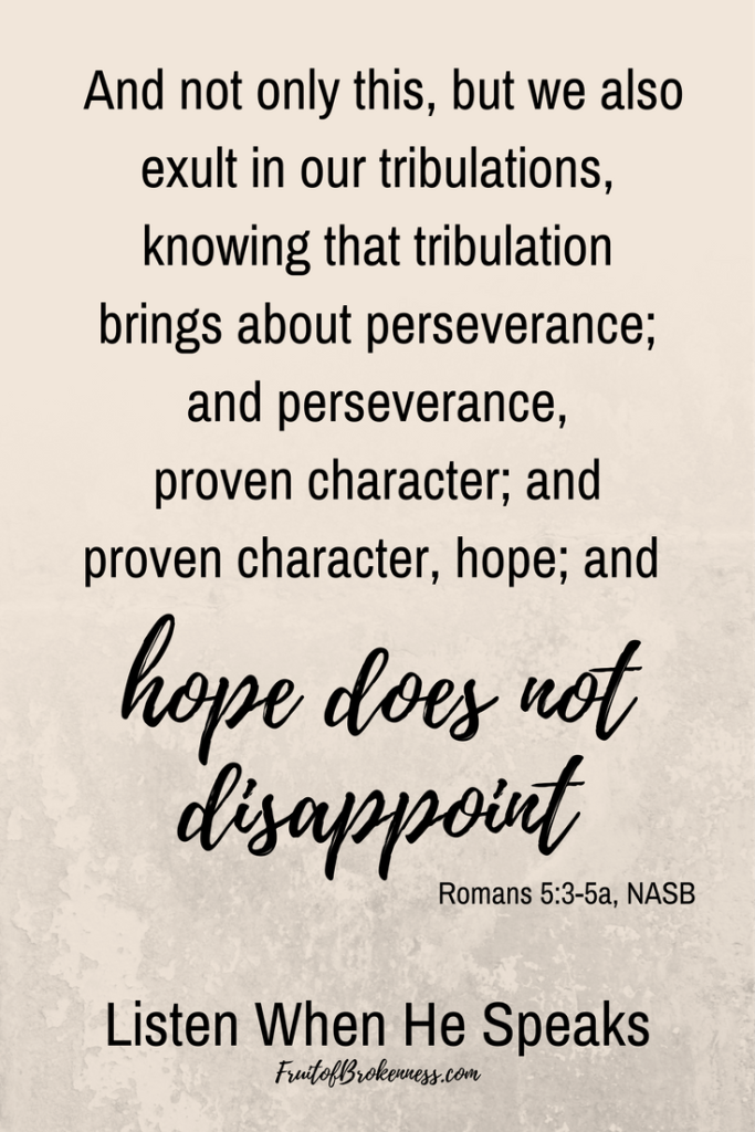 Hope does not disappoint. Romans 5:3-5 Scripture image