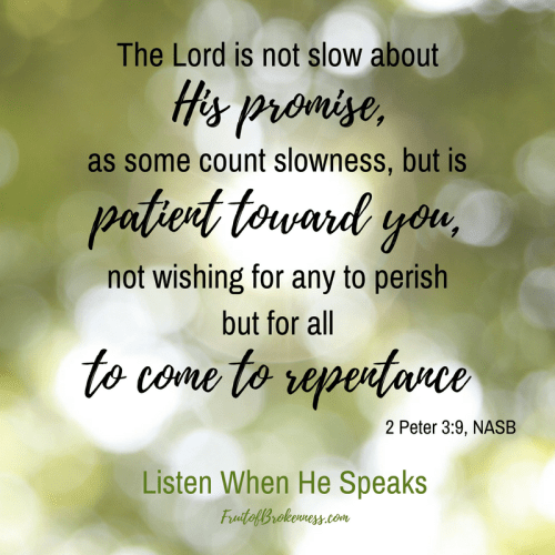 2 Peter 3:9 God keeps His Promises. He is patient and loving, longing for all to repent. Let's share the Gospel while we can!