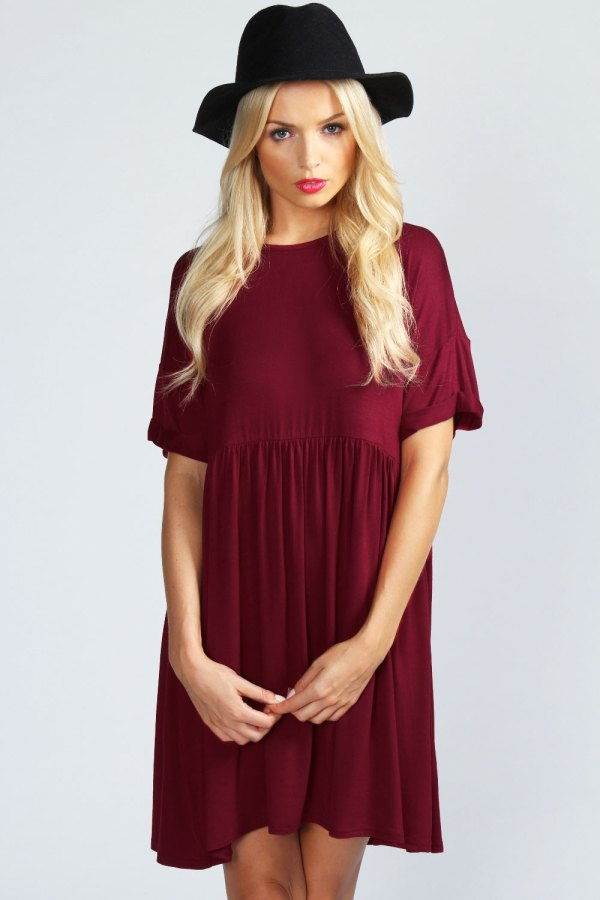 Oversized smock dress, purple