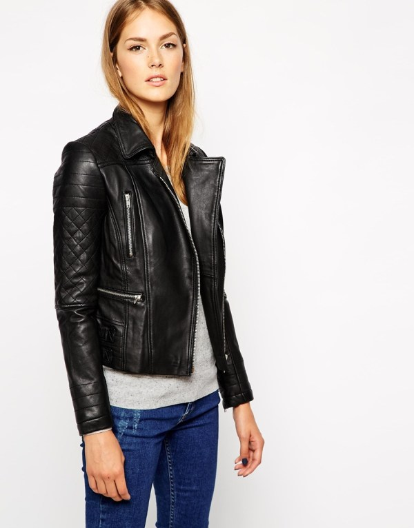 Warehouse leather biker jacket