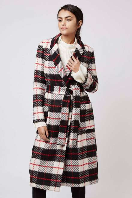Topshop Check Belted Wool Blend Coat - £99