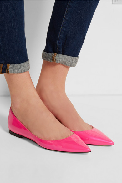 Jimmy Choo Alina Neon Patent-Leather Point-Toe Flats - £360