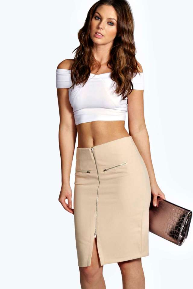 Boohoo front zip skirt