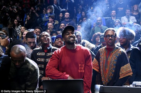 New album: The rapper beamed as he played his new record The Life Of Pablo for the crowd Read more: http://www.dailymail.co.uk/tvshowbiz/article-3443547/What-day-Kim-Kardashian-Kanye-West-sneak-hotel-NYFW-fashion-listening-party.html#ixzz3zxGAxuMJ  Follow us: @MailOnline on Twitter   DailyMail on Facebook