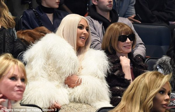 Kim chatted with Vogue editor in chief Anna Wintour Read more: http://www.dailymail.co.uk/tvshowbiz/article-3443547/What-day-Kim-Kardashian-Kanye-West-sneak-hotel-NYFW-fashion-listening-party.html#ixzz3zxGcR4qU  Follow us: @MailOnline on Twitter | DailyMail on Facebook