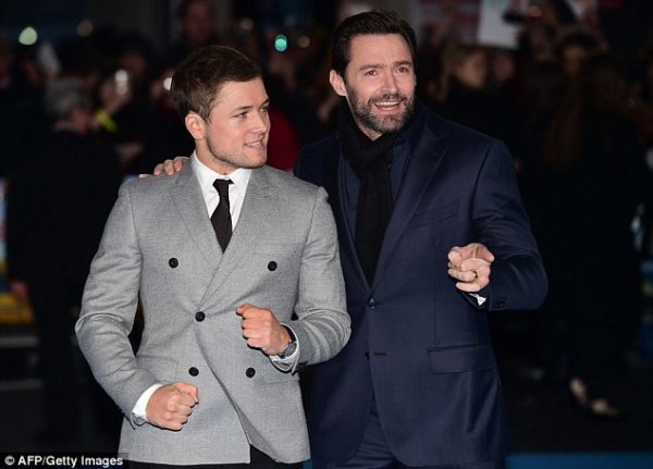 Hugh Jackman and his co-star Taron Egerton