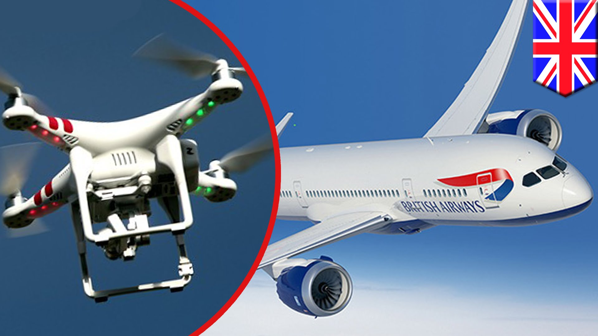 BA plane and drone