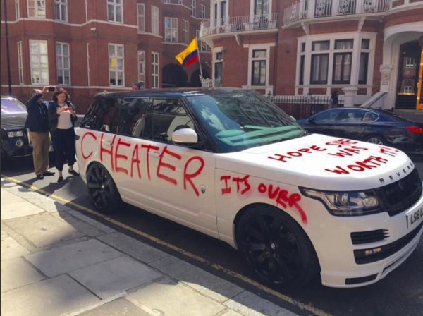 The mysterious car appeared outside Harrods department store yesterday morning /Twitter