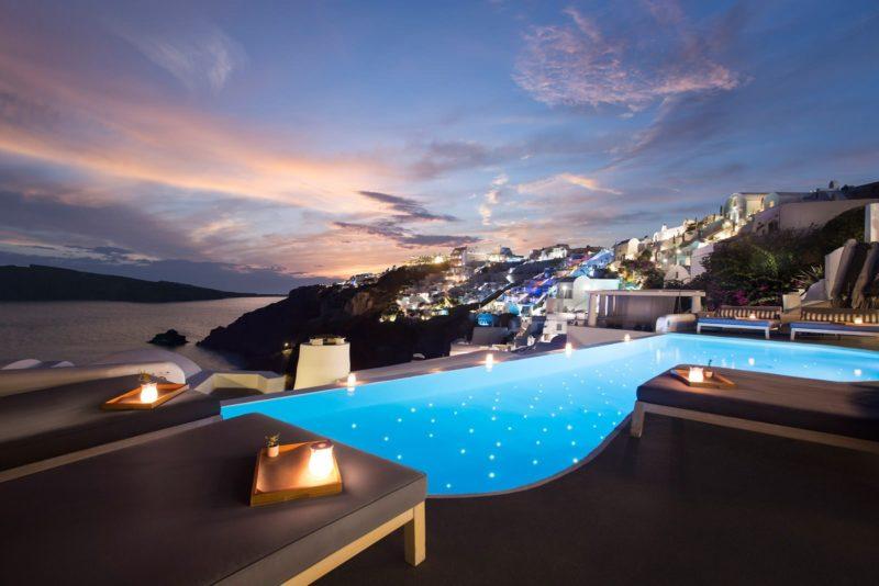 nighttime hotel santorini
