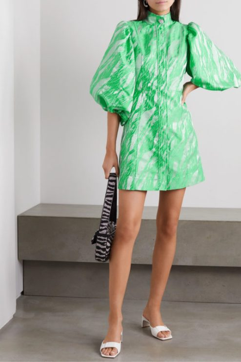 GANNI Crystal-embellished jacquard mini dress