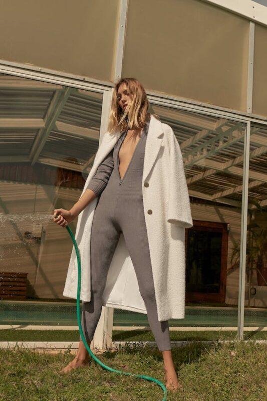 alt: cream textured coat