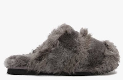 DANIEL Socurl Grey Curly Lamb & Merino Wool Slippers