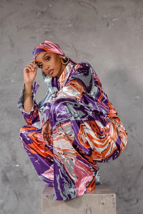 kai collective print silk set