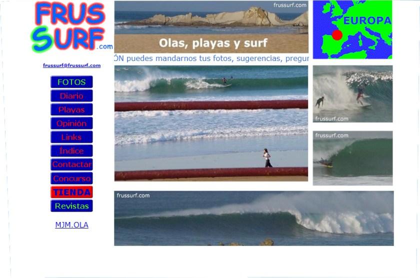 Primera portada de la página frussurf en el año 2001