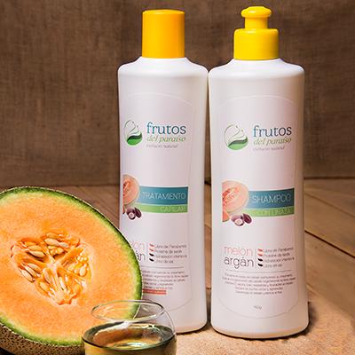 shampoo y tratamiento de Melón y Argán Frutos del Paraíso