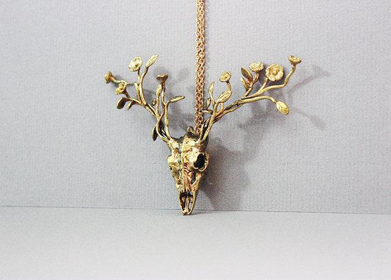 Golden Deer w/Flowers
