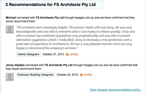 """FS Architects were amazingly helpful. The person I dealt with was Gary. He was very knowledgeable and was able to interpret what I was trying to achieve quickly. Gary was able to answer my multitude of questions very professionally and was able to present alternative suggestions which I really liked. Gary is obviously a true gentleman with a great deal of experience in Architecture. He has a very pleasant manner and I am very happy to recommend his company's services."""