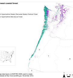 land cover distribution of pacific northwest coastal forests based on the landfire biophysical settings bps data layer 3 numbers indicate landfire map  [ 4400 x 3400 Pixel ]