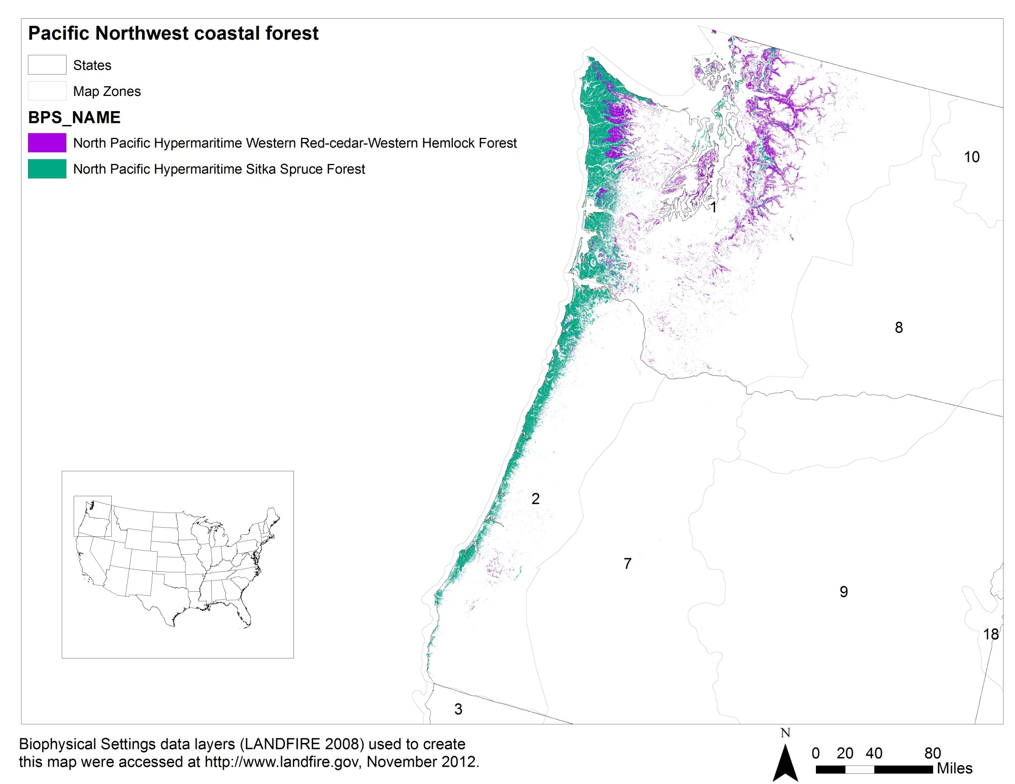 hight resolution of land cover distribution of pacific northwest coastal forests based on the landfire biophysical settings bps data layer 3 numbers indicate landfire map
