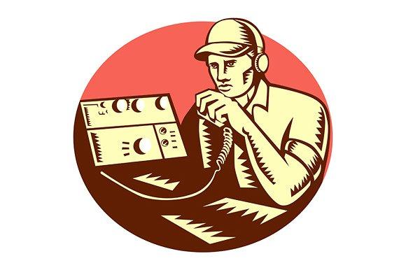 Ham radio operator using radio