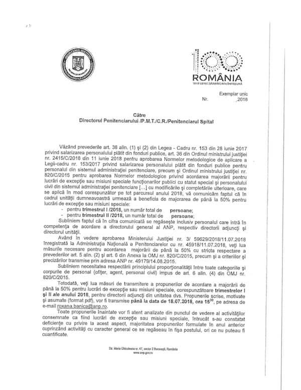 Adresa ANP - propuneri majorare 50%