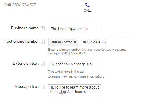 Call extensions and Message extensions