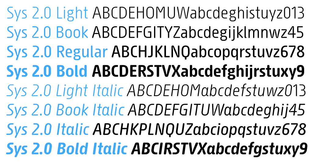 Sys 2.0 font family specimen ideal for long texts