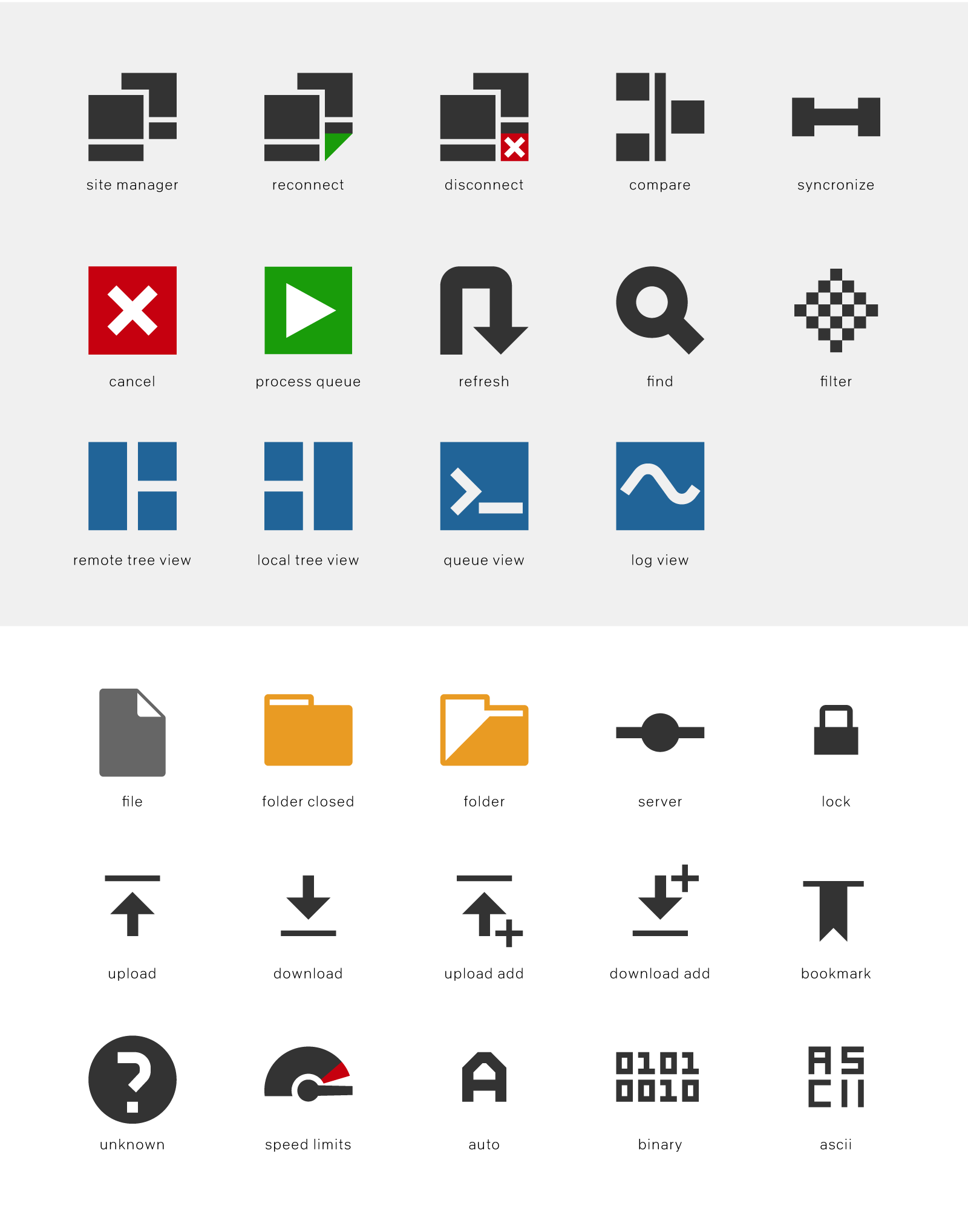 FSD icons of the theme for FileZilla