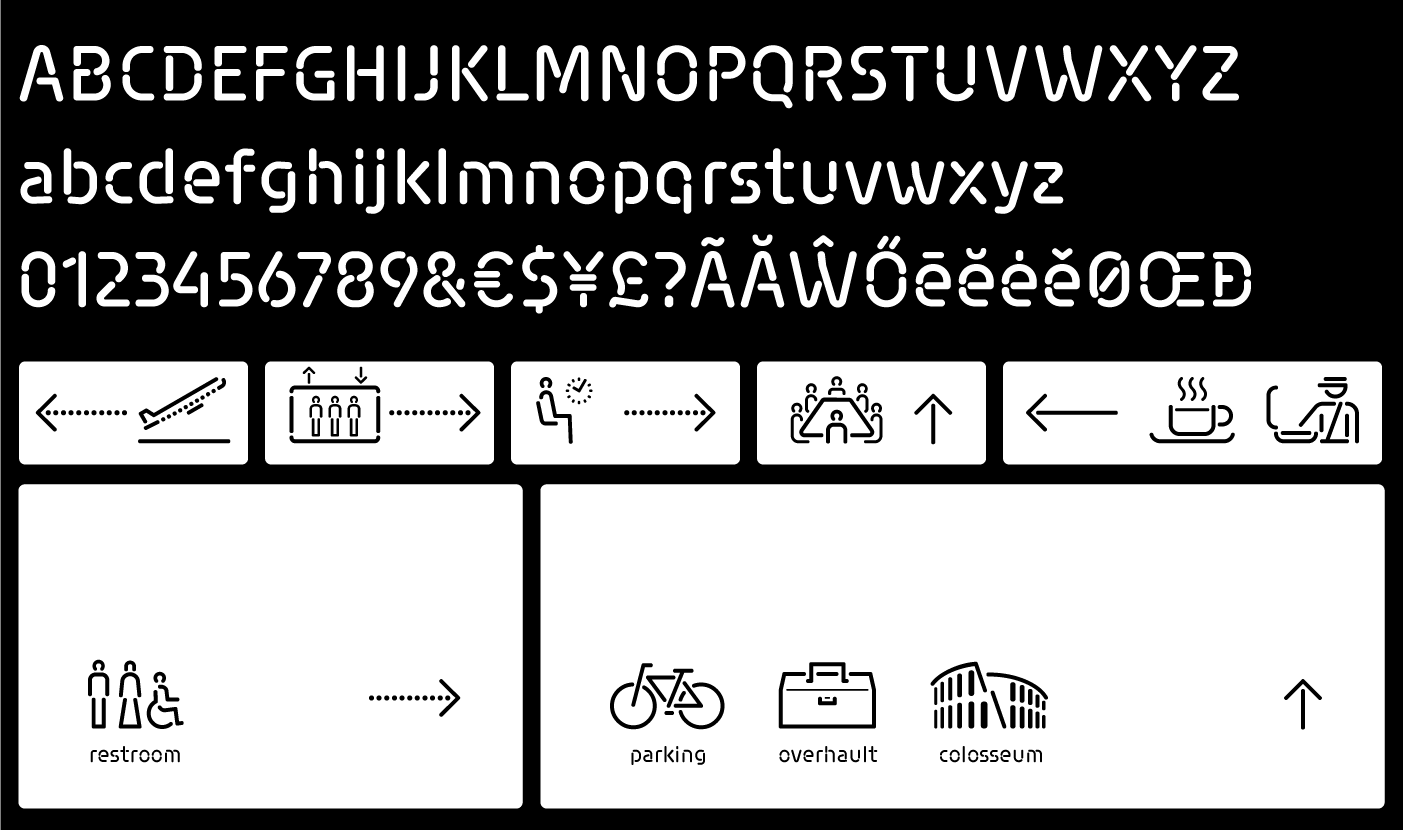 Siruca font and pictograms in wayfinding