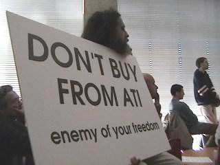 Richard Stallman Protesting Peacefully