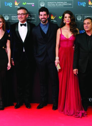 (L-R) Imanol Arias, Manuela Velles, Laurent Vinay, Miguel Angel Munoz, Juana Acosta, Eduard Fernandez and Paco Arango