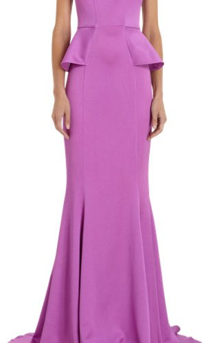 Safiyaa Peplum-Waist Sleeveless Floor Length Gown_barneys
