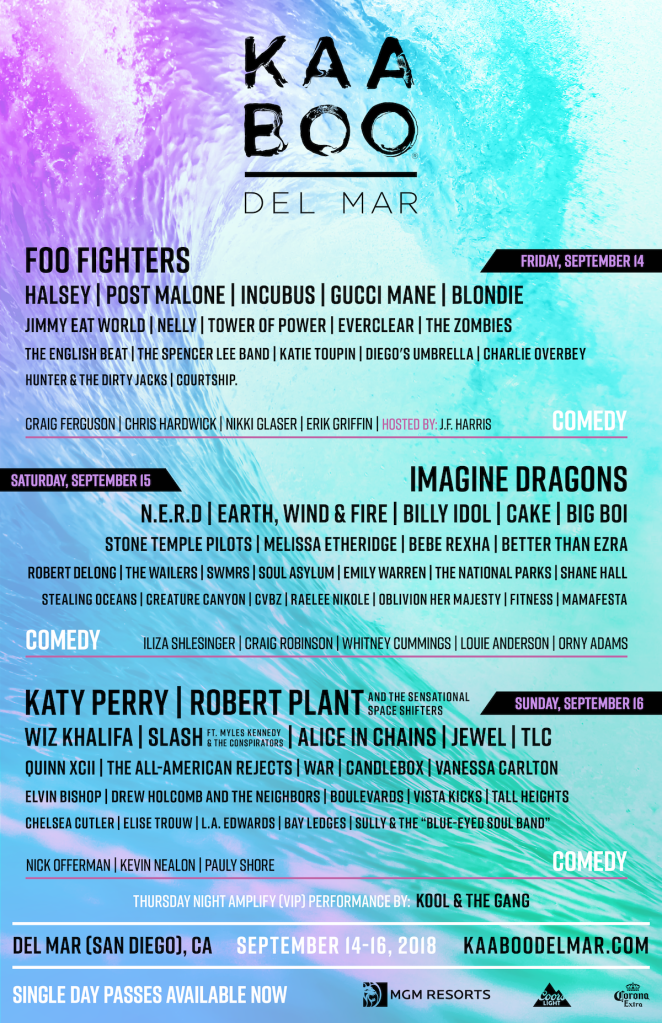 KAABOO DEL MAR ANNOUNCES DAILY ARTIST LINEUP AND SINGLE DAY PASSES