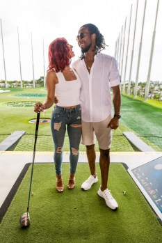 Dancing With The Stars Finalist Sharna Burgess & Josh Norman are all smiles during the 14th Annual Irie Weekend Triller Celebrity Golf Tournament powered by South Florida Ford.