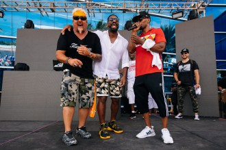 Guy Fieri, DJ Irie and Jamie Foxx at the 14th Annual Irie Weekend Sprint BBQ Beach Bash & Concert Presented by Samsung in Miami.