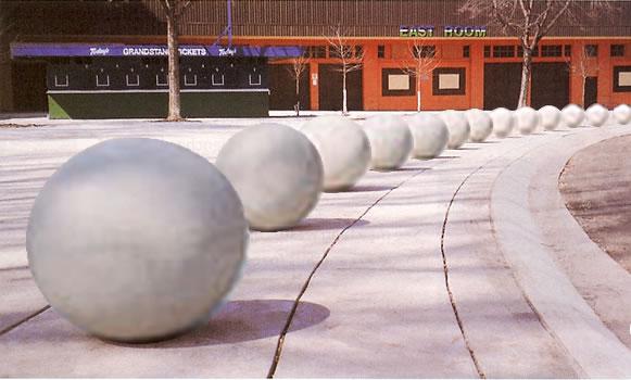 sphere bollard bollards concrete
