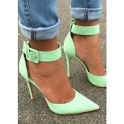 mint green ankle strap heels pointy