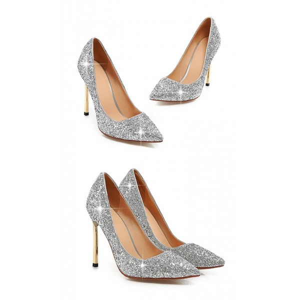silver glitter shoes pointy