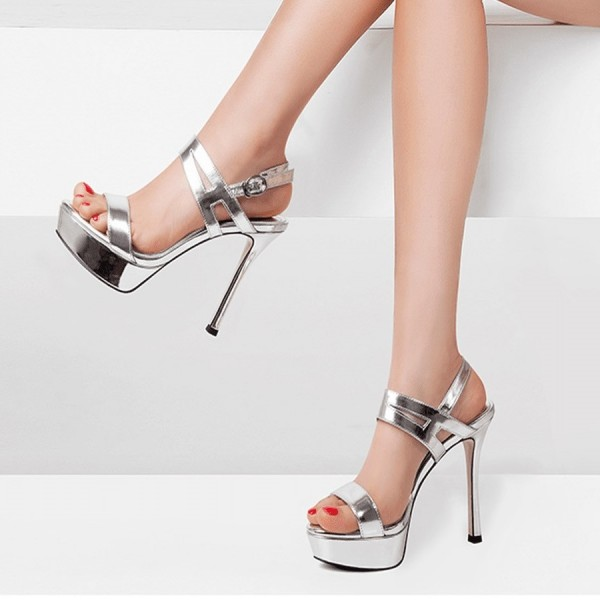 silver open toe stiletto