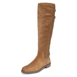 Tan Suede Flat Knee Boots Knee High Boots image 1