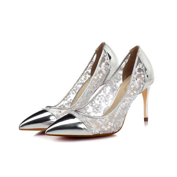 silver stiletto heels sequined