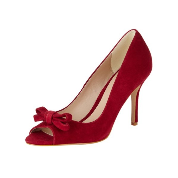 Women's Red Heels Bow Peep Toe Heels Stiletto Vintage Heels