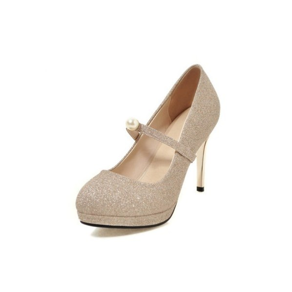 Champagne Glitter Shoes Mary Jane Pumps Platform Vintage Shoes