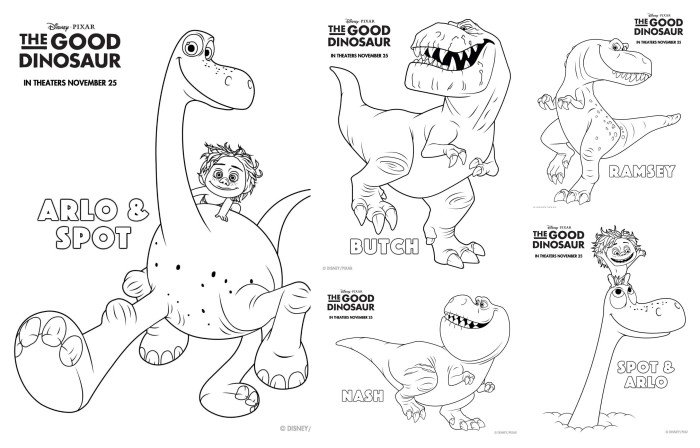 The Good Dinosaur Coloring Pages and Activity Sheets #