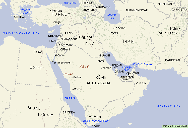 Map of Middle East in 2000
