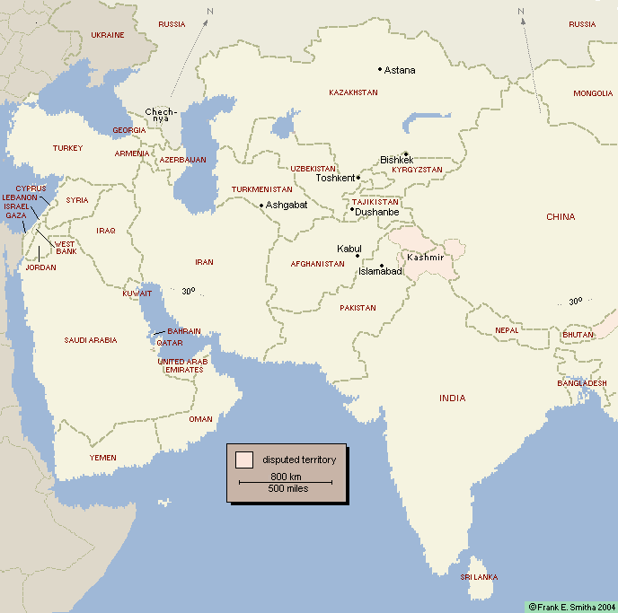 Map of Central Asia in 2000