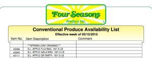 Conventional Produce Availability List