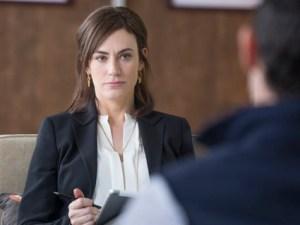 Maggie Siff som Wendy Rhoades i Billions, en serie det är lätt att fastna för men Viaplay har bara en säsong. Bild: HBO Nordic