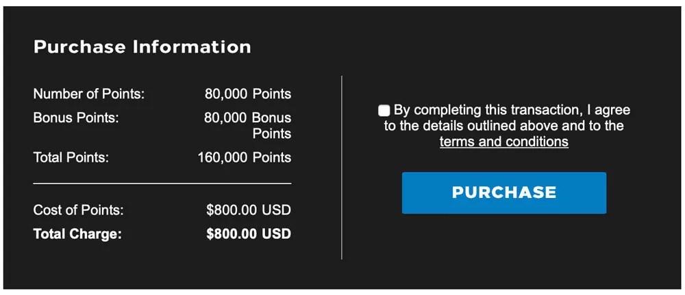 Bei der Aktion gibt es 100% Punktebonus und somit sind maximal 160.000 Punkte für 800 USD möglich. Foto: Hilton Honors